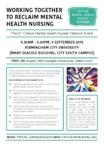 Working Together to Reclaim Mental Health Nursing @ Birmingham City University | Birmingham | United Kingdom