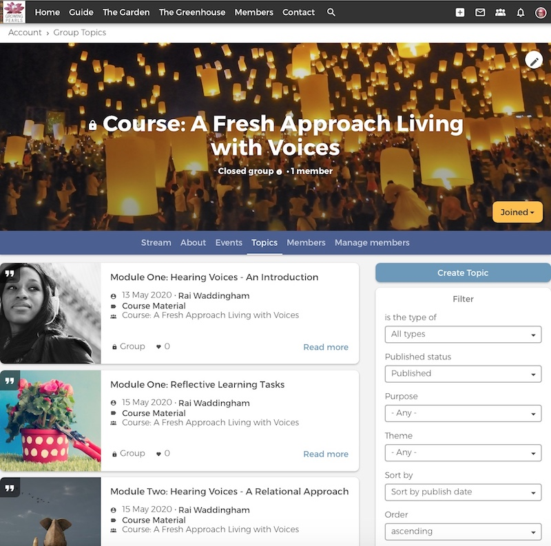 Screenshot of living with voices page